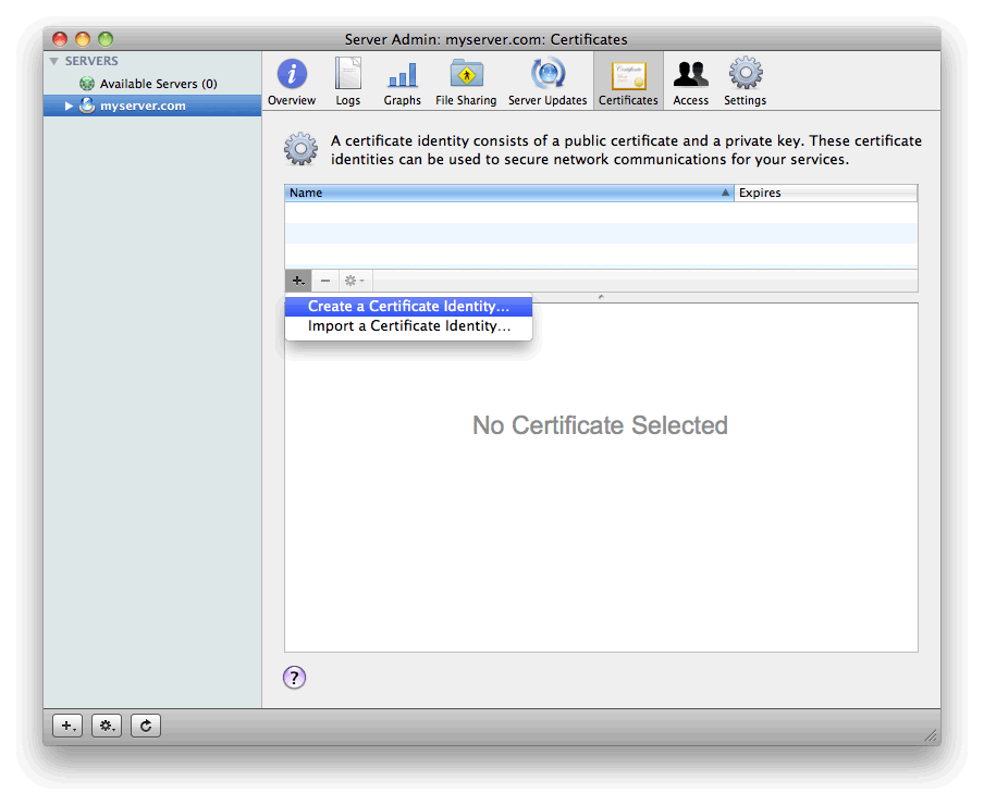 Generate Csr For Apple Mac Os X Server 106 Snow Leopard At Quality Ssl